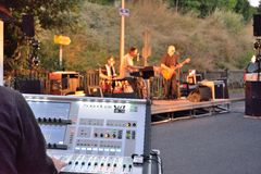 Sound Engineering console at work. VIC SUR SERE, FRANCE, 15 JULY Dr Pickup @ Festival Les Mardis Musicaux Vic Sur Cere, July 15 Dr Pickup trio, Sound Stock Photos