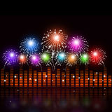 Sound Equalizer with fireworks Stock Photo