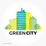 Sound equalizer symbol logo. Green ecological city urban sounds. Stock Images