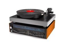Sound equalizer, turntable, vinyl record 3d illustration. Royalty Free Stock Image