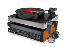 Sound equalizer, turntable, vinyl record and headphones 3d illus Royalty Free Stock Images