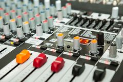 Sound equipment with details. And colors Stock Photo