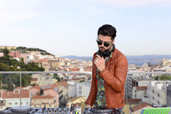 DJ, Music - Sound Equipment, Cityscape Background Stock Photos