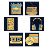 Sound equipment icons. Audio equipment icons set. Sound accessories  collection Stock Photography