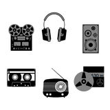 Sound equipment icons. Audio equipment icons set. Sound accessories vector collection Royalty Free Stock Photos