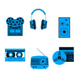Sound equipment icons. Audio equipment icons set. Sound accessories vector collection Stock Images
