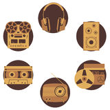 Sound equipment icons. Audio equipment icons set. Sound accessories vector collection Stock Image