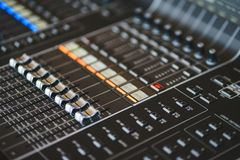 Sound equipment, large mixing console for sound producer. royalty free stock photography
