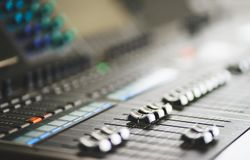 Sound equipment, large mixing console for sound producer. Performance and sound design of events, holidays and parties. Modern technical equipment. Sound stock images
