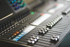 Sound equipment, large mixing console for sound producer. Performance and sound design of events, holidays and parties. Modern technical equipment. Sound royalty free stock images