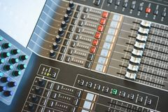 Sound equipment, large mixing console for sound producer. Performance and sound design of events, holidays and parties. Modern technical equipment. Sound stock image