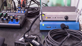 Sound equipment. Sound system with mixer and speaker microphone Stock Image