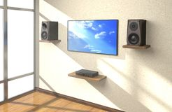 Sound equipment and TV in the room 3d illustration. Sound amplifier, loudspeakers and TV on shlves in the room 3d illustration Stock Images