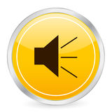 Sound face yellow circle icon Stock Photo