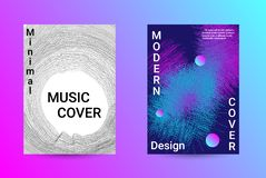 Sound flyer for creating a fashionable cover. Minimum coverage of a vector. A set of modern abstract backgrounds with abstract gradient linear waves. Sound flyer stock illustration