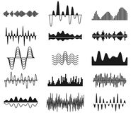 Sound frequency waves. Analog curved signal symbols. Audio track music equalizer forms, soundwaves signals vector set. Wavy signal electronic equalizer Royalty Free Stock Photography