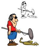 Sound guy at work. Sound man, working on a nature show, with bonus black outline version royalty free illustration