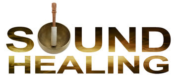 Sound Healing Logo. Tibetan Singing Bowl making the O of SOUND HEALING with golden brown flowing wave like detail inside letters isolated on white background stock images