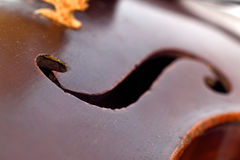 Sound hole in antique violin Royalty Free Stock Photos