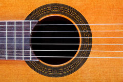 Sound hole with rosette inlay of guitar Royalty Free Stock Photography