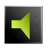Sound  icon. Green sound icon over black background , chrome frame. isolated illustration Stock Photos