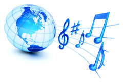 Sound icon. Musical notes and Earth globe on white background. Hi-res digitally generated image Royalty Free Stock Images