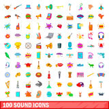 100 sound icons set, cartoon style. 100 sound icons set in cartoon style for any design vector illustration Royalty Free Stock Photos