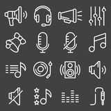 Sound icons set vector, Audio signs, buttons, elements Isolated on gray background. Music, volume concept Royalty Free Stock Images