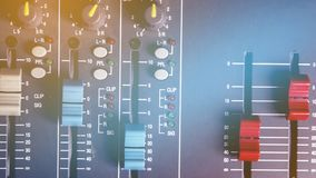 Sound Level Control Slider. Sound Level Control Slider in the audio control room royalty free stock photos