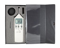 Sound level meter. In box (with clipping path stock image