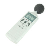 Sound level meter. (display show high level) on white background royalty free stock photo
