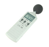 Sound level meter. (display show low level) on white background stock photos