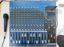 Sound levels on a professional audio mixer with microphone, Music control panel.  royalty free stock images