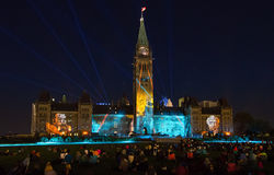 Sound and Light show on parliament hill in ottawa Stock Images