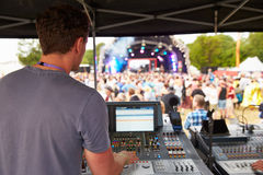 Sound and lighting engineer at an outdoor festival concert Royalty Free Stock Photos