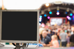 Sound and lighting equipment at an outdoor festival concert Royalty Free Stock Images