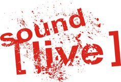 Sound live. Seal worn with the legend of live sound stock illustration