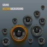 Sound Load Speakers on dark background. Stock Photos