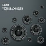 Sound Load Speakers on dark background. Royalty Free Stock Image