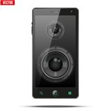 Sound Load speakers Dynamics inside a mobile phone Stock Photo