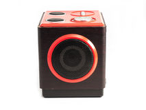 Sound loud speaker. On the write background stock images