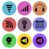 Sound and media related icon designs Stock Images