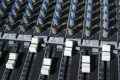 Sound mixer. Details of potentiometers on the sound mixer board Royalty Free Stock Image