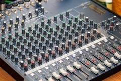 Sound Mixer. Sliders And Knobs On A Sound Mixer stock photo