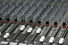 Sound Mixer. Controls of a sound board royalty free stock image