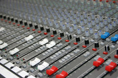 Sound Mixer. Controls of a sound board stock image