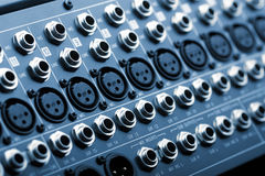 Sound mixer back panel Royalty Free Stock Photo