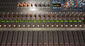 Sound Mixer Board. Digital sound mixing board with sliders and knobs Stock Image