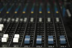 Sound mixer board faders Stock Images