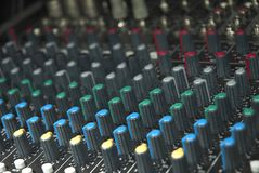 Sound mixer board knobs Royalty Free Stock Images